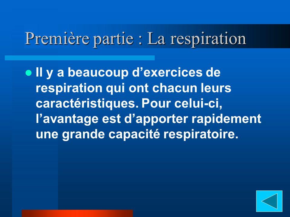 Première partie : La respiration Il y a beaucoup dexercices de respiration qui ont chacun leurs caractéristiques.