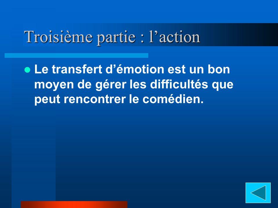 Troisième partie : laction Le transfert démotion est un bon moyen de gérer les difficultés que peut rencontrer le comédien.