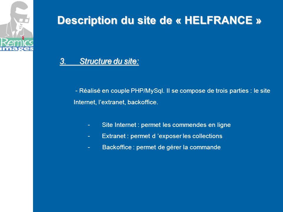 3. Structure du site: - Réalisé en couple PHP/MySql. Il se compose de trois parties : le site Internet, lextranet, backoffice. -Site Internet : permet