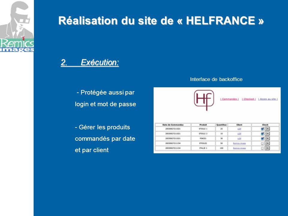 2. Exécution: - Protégée aussi par login et mot de passe - Gérer les produits commandés par date et par client Réalisation du site de « HELFRANCE » In