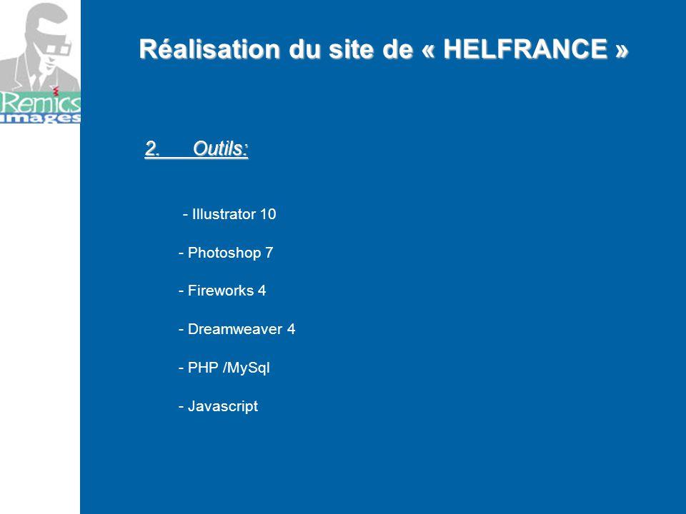 2. Outils: - Illustrator 10 - Photoshop 7 - Fireworks 4 - Dreamweaver 4 - PHP /MySql - Javascript Réalisation du site de « HELFRANCE »
