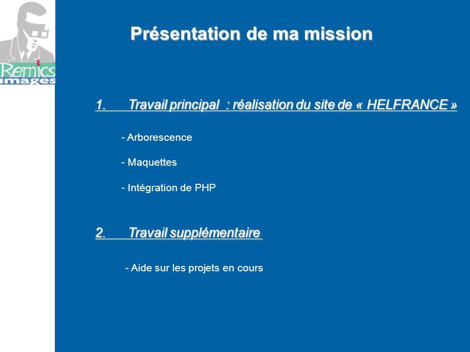 Présentation de ma mission 1. Travail principal : réalisation du site de « HELFRANCE » - Arborescence - Maquettes - Intégration de PHP 2. Travail supp