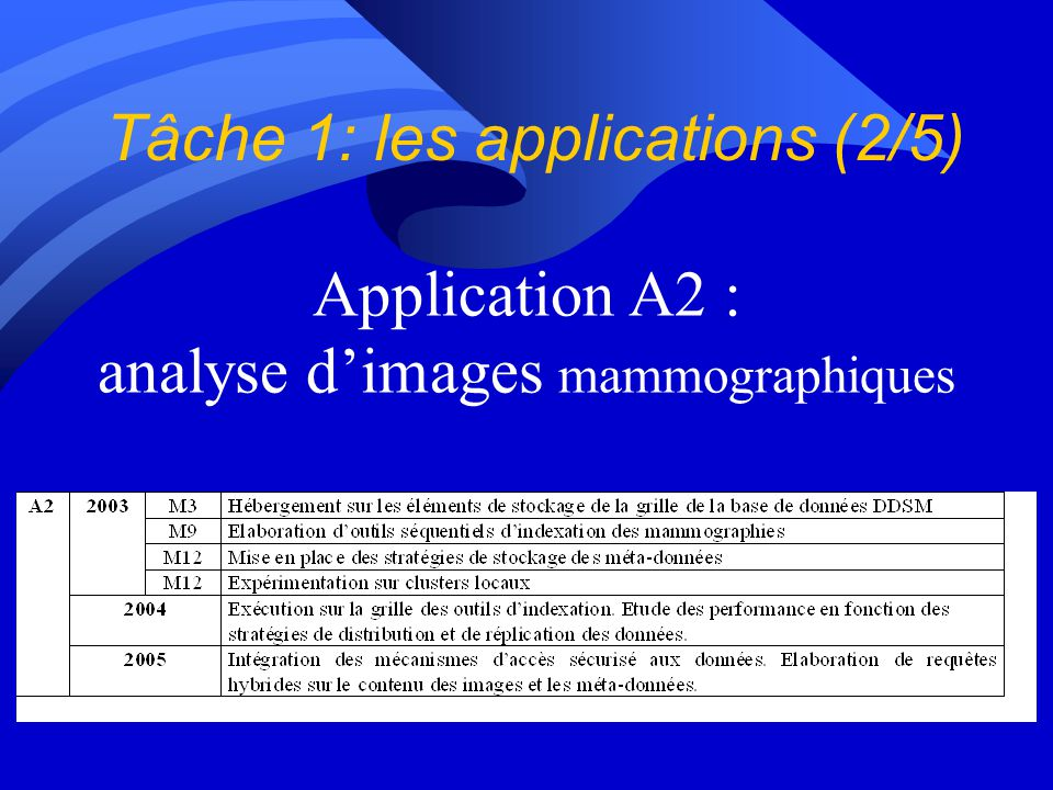 Application A2 : analyse dimages mammographiques Tâche 1: les applications (2/5)