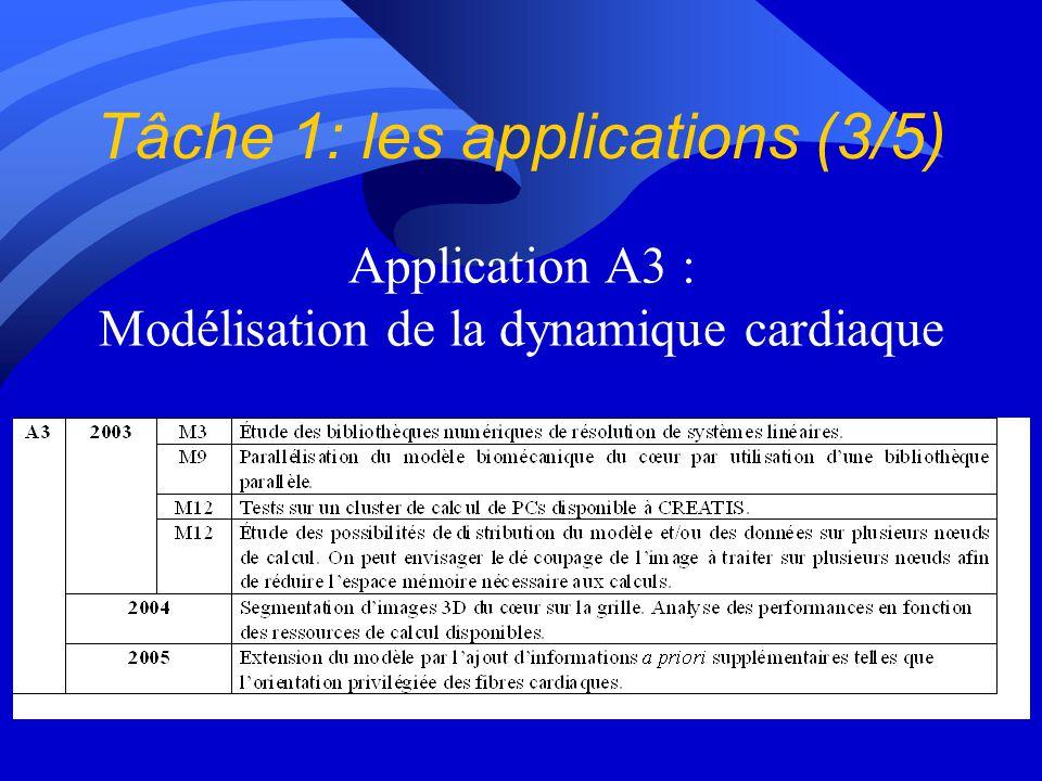Tâche 1: les applications (3/5) Application A3 : Modélisation de la dynamique cardiaque