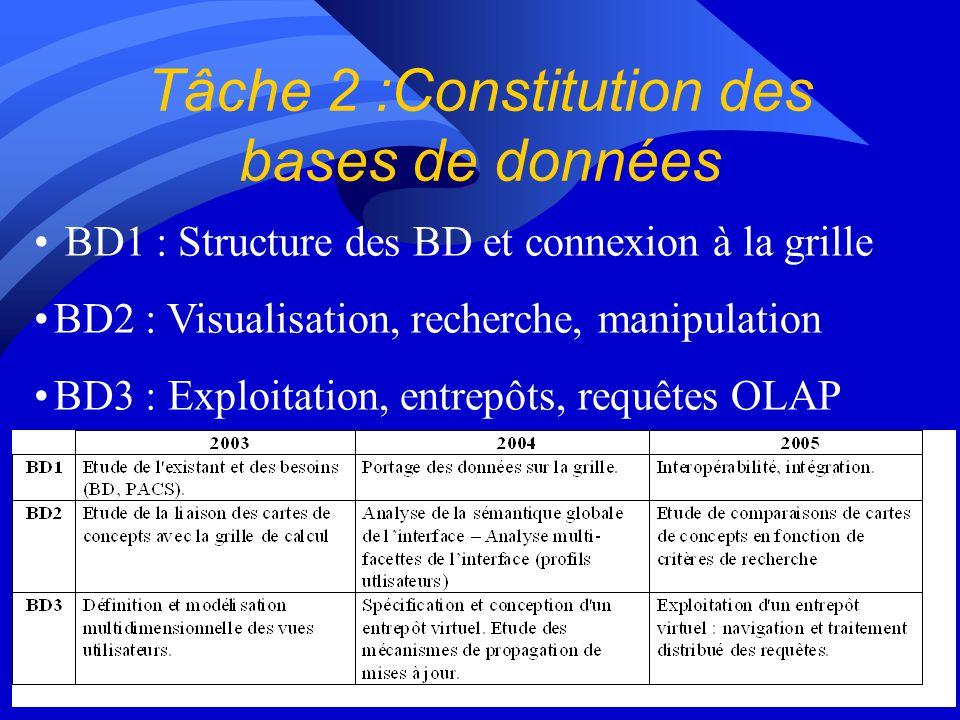 Tâche 2 :Constitution des bases de données BD1 : Structure des BD et connexion à la grille BD2 : Visualisation, recherche, manipulation BD3 : Exploitation, entrepôts, requêtes OLAP