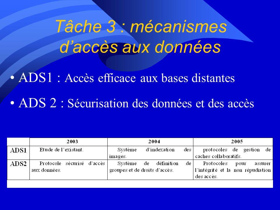 Tâche 3 : mécanismes daccès aux données ADS1 : Accès efficace aux bases distantes ADS 2 : Sécurisation des données et des accès