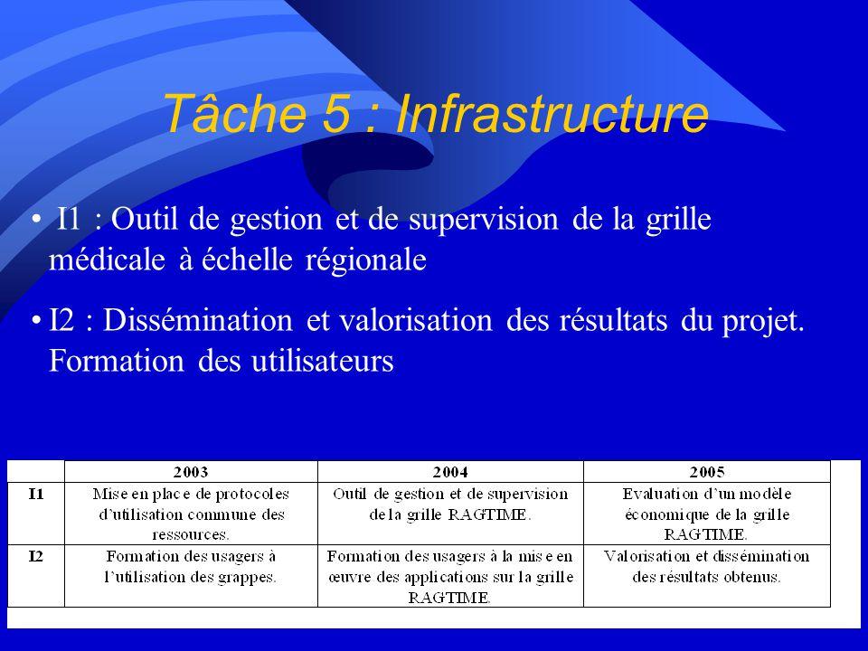 Tâche 5 : Infrastructure I1 : Outil de gestion et de supervision de la grille médicale à échelle régionale I2 : Dissémination et valorisation des résu