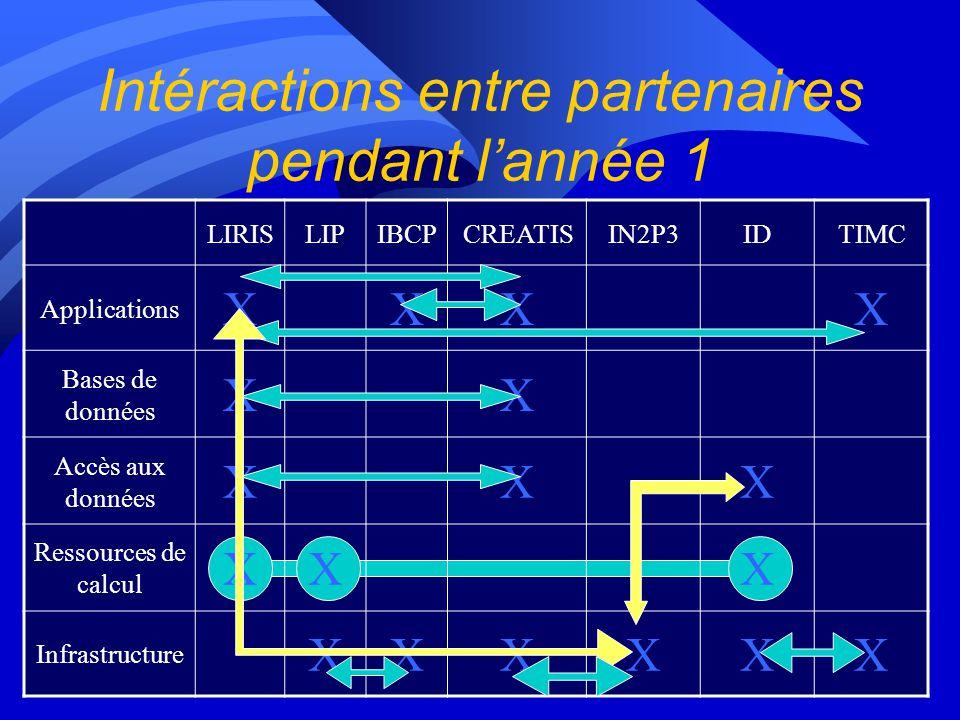 Intéractions entre partenaires pendant lannée 1 LIRISLIPIBCPCREATISIN2P3IDTIMC Applications XXXX Bases de données XX Accès aux données XXX Ressources de calcul XXX Infrastructure XXXXXX