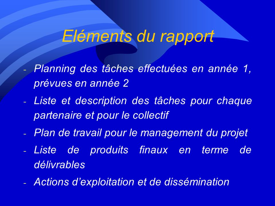 Eléments du rapport - Planning des tâches effectuées en année 1, prévues en année 2 - Liste et description des tâches pour chaque partenaire et pour le collectif - Plan de travail pour le management du projet - Liste de produits finaux en terme de délivrables - Actions dexploitation et de dissémination