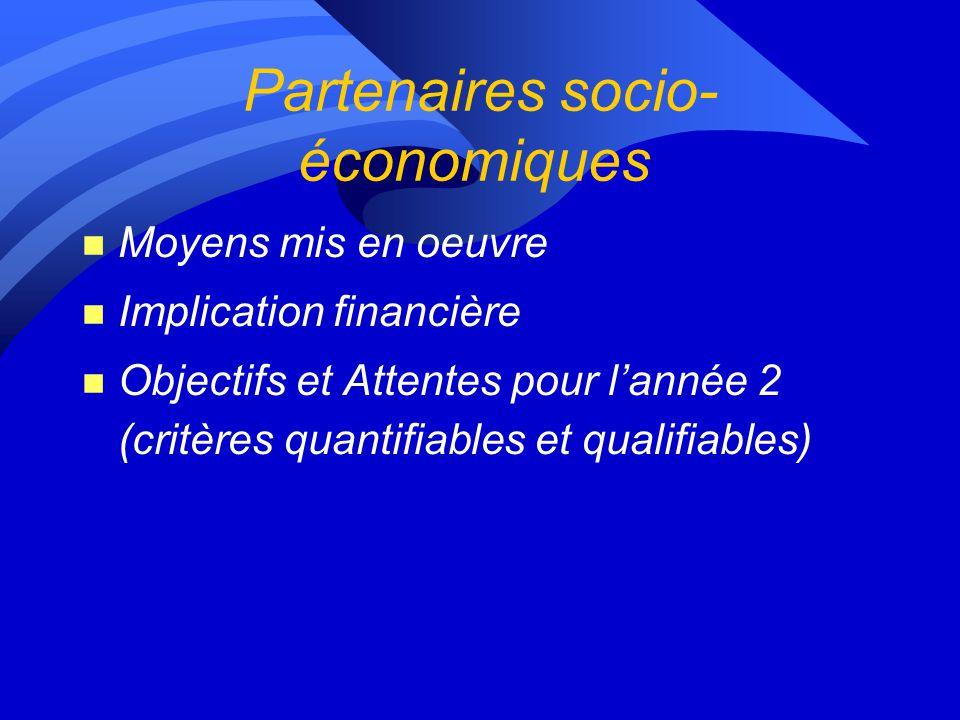 Partenaires socio- économiques n Moyens mis en oeuvre n Implication financière n Objectifs et Attentes pour lannée 2 (critères quantifiables et qualifiables)
