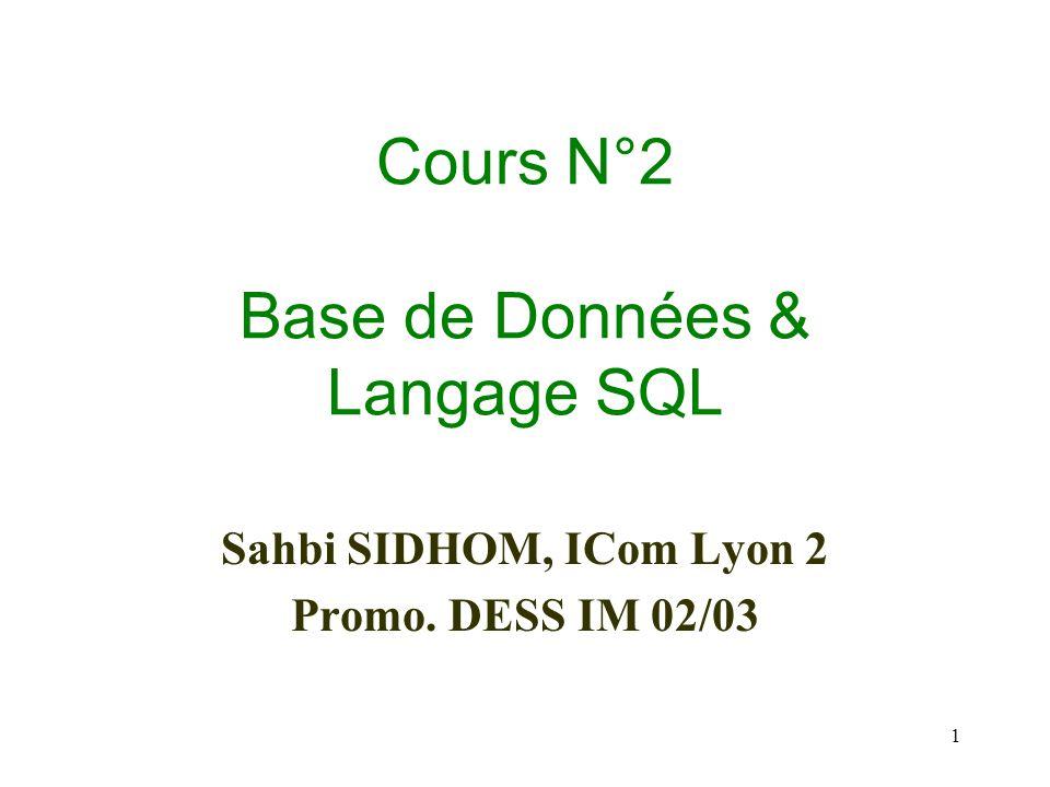 1 Cours N°2 Base de Données & Langage SQL Sahbi SIDHOM, ICom Lyon 2 Promo. DESS IM 02/03