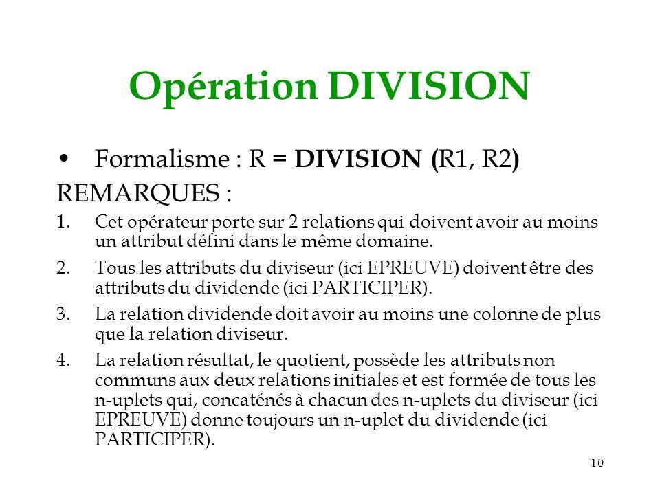 10 Opération DIVISION Formalisme : R = DIVISION ( R1, R2 ) REMARQUES : 1.Cet opérateur porte sur 2 relations qui doivent avoir au moins un attribut défini dans le même domaine.