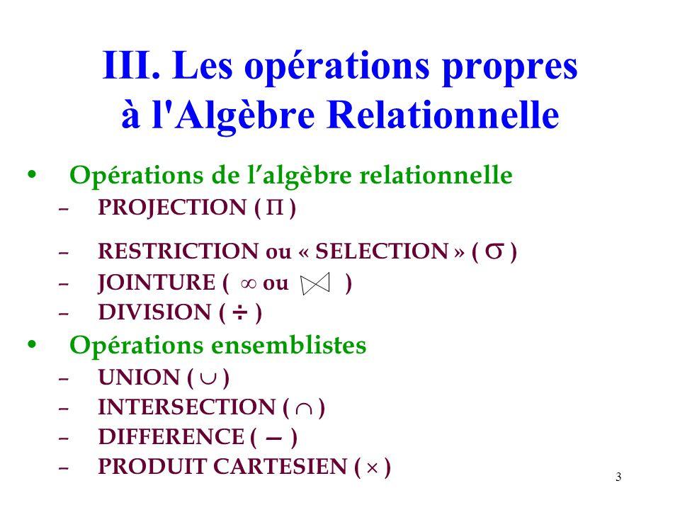 3 III. Les opérations propres à l'Algèbre Relationnelle Opérations de lalgèbre relationnelle – PROJECTION ( ) – RESTRICTION ou « SELECTION » ( ) – JOI