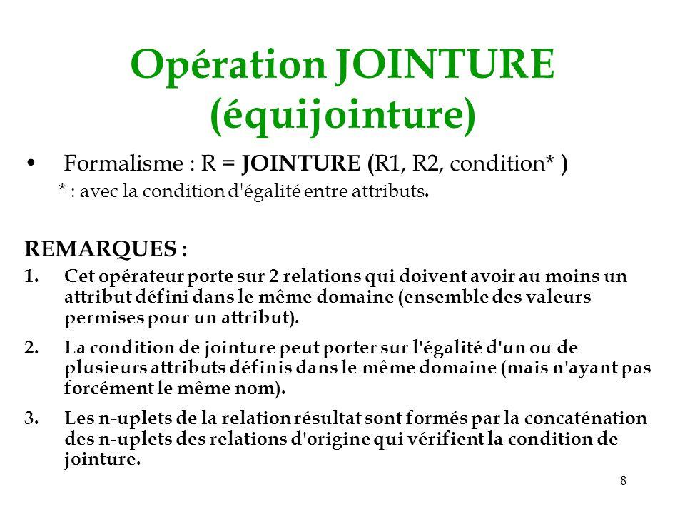 8 Opération JOINTURE (équijointure) Formalisme : R = JOINTURE ( R1, R2, condition* ) * : avec la condition d'égalité entre attributs. REMARQUES : 1.Ce