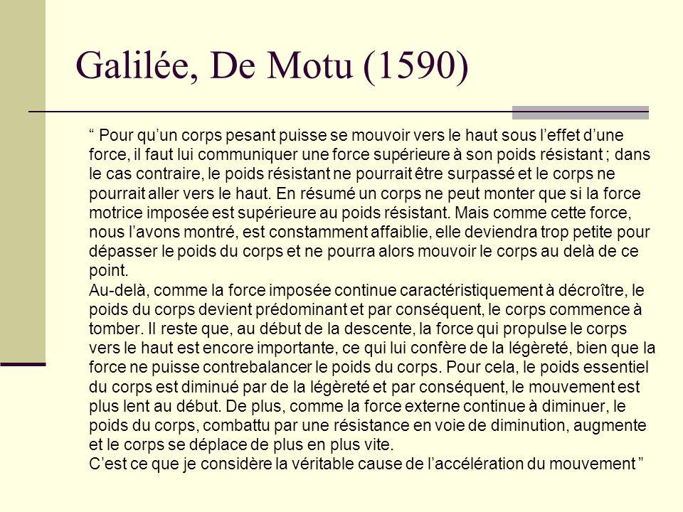 Galilée, De Motu (1590) Pour quun corps pesant puisse se mouvoir vers le haut sous leffet dune force, il faut lui communiquer une force supérieure à s