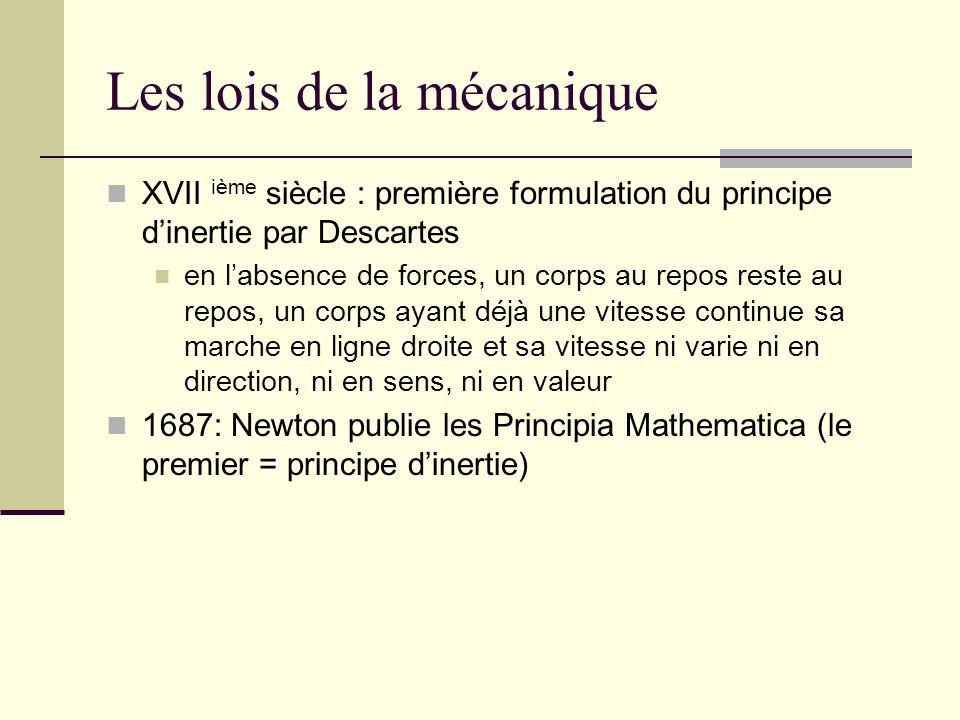 Les lois de la mécanique XVII ième siècle : première formulation du principe dinertie par Descartes en labsence de forces, un corps au repos reste au