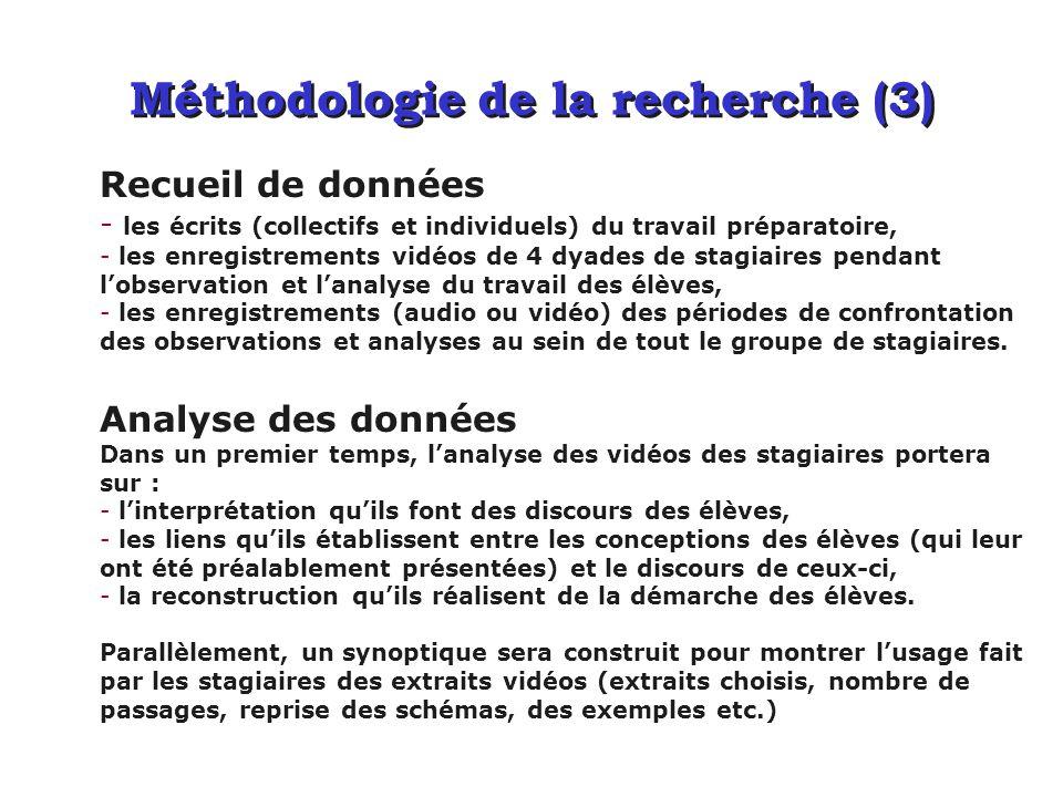 Méthodologie de la recherche (3) Recueil de données - les écrits (collectifs et individuels) du travail préparatoire, - les enregistrements vidéos de