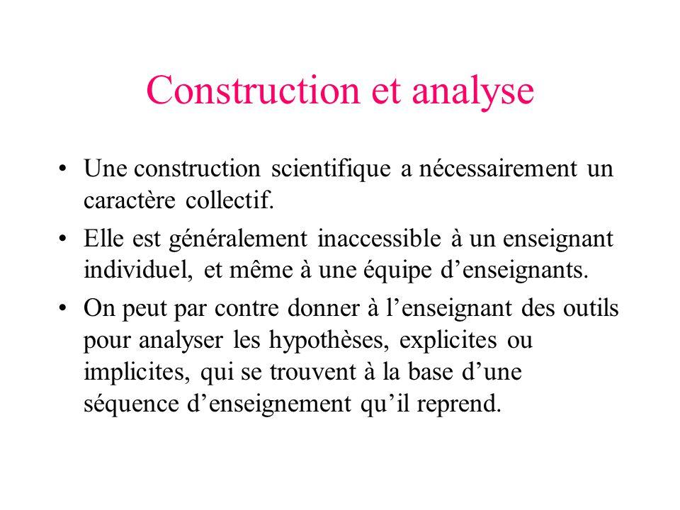 Construction et analyse Une construction scientifique a nécessairement un caractère collectif. Elle est généralement inaccessible à un enseignant indi