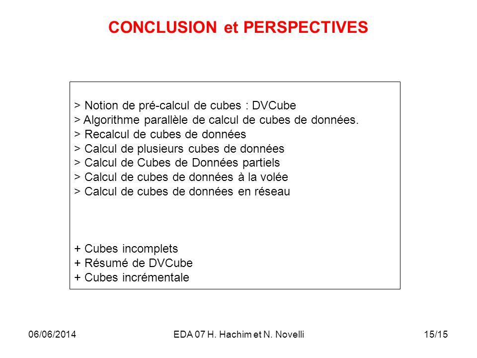 15/15 CONCLUSION et PERSPECTIVES > Notion de pré-calcul de cubes : DVCube > Algorithme parallèle de calcul de cubes de données. > Recalcul de cubes de