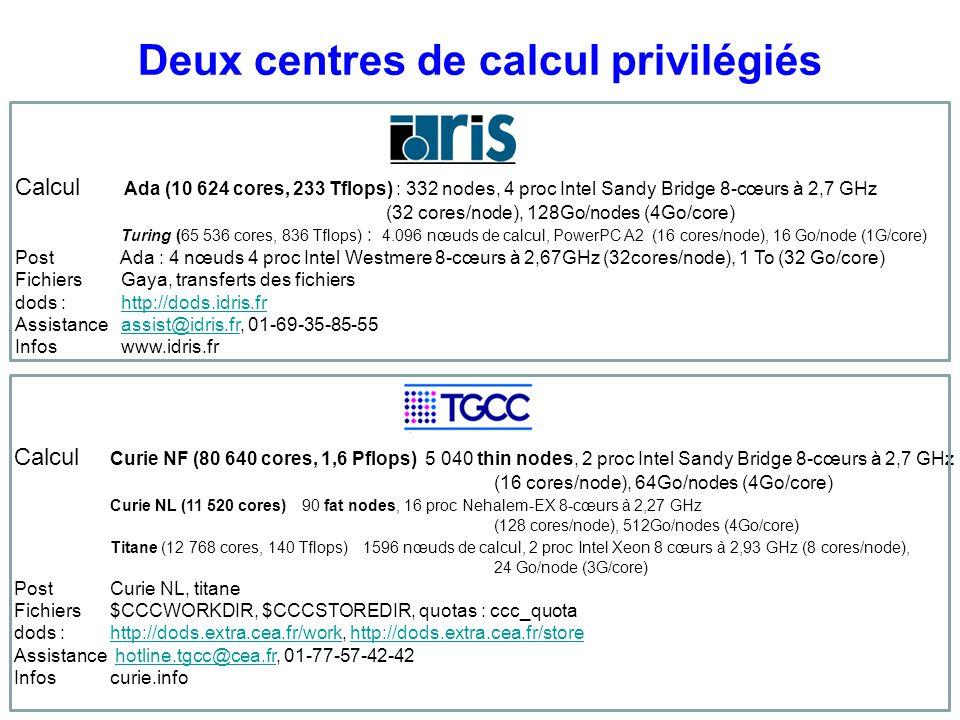 Deux centres de calcul privilégiés Calcul Ada (10 624 cores, 233 Tflops) : 332 nodes, 4 proc Intel Sandy Bridge 8-cœurs à 2,7 GHz (32 cores/node), 128