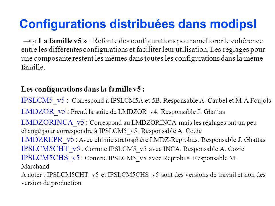 Configurations distribuées dans modipsl « La famille v5 » : Refonte des configurations pour améliorer le cohérence entre les différentes configuration