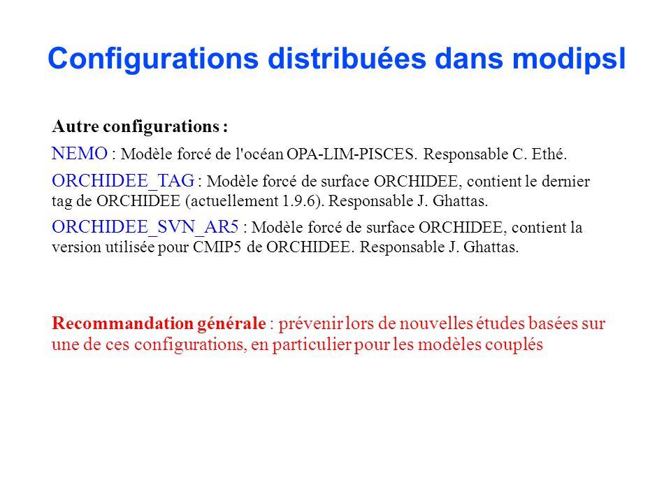 Configurations distribuées dans modipsl Autre configurations : NEMO : Modèle forcé de l'océan OPA-LIM-PISCES. Responsable C. Ethé. ORCHIDEE_TAG : Modè