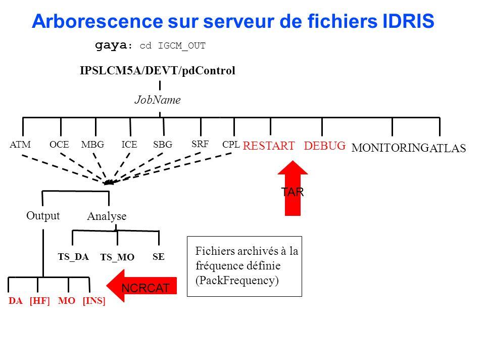 Arborescence sur serveur de fichiers IDRIS TS_DA TS_MO IPSLCM5A/DEVT/pdControl OCE SRF CPL RESTART JobName ATM DEBUG ICE Analyse Output [INS]DA[HF]MO
