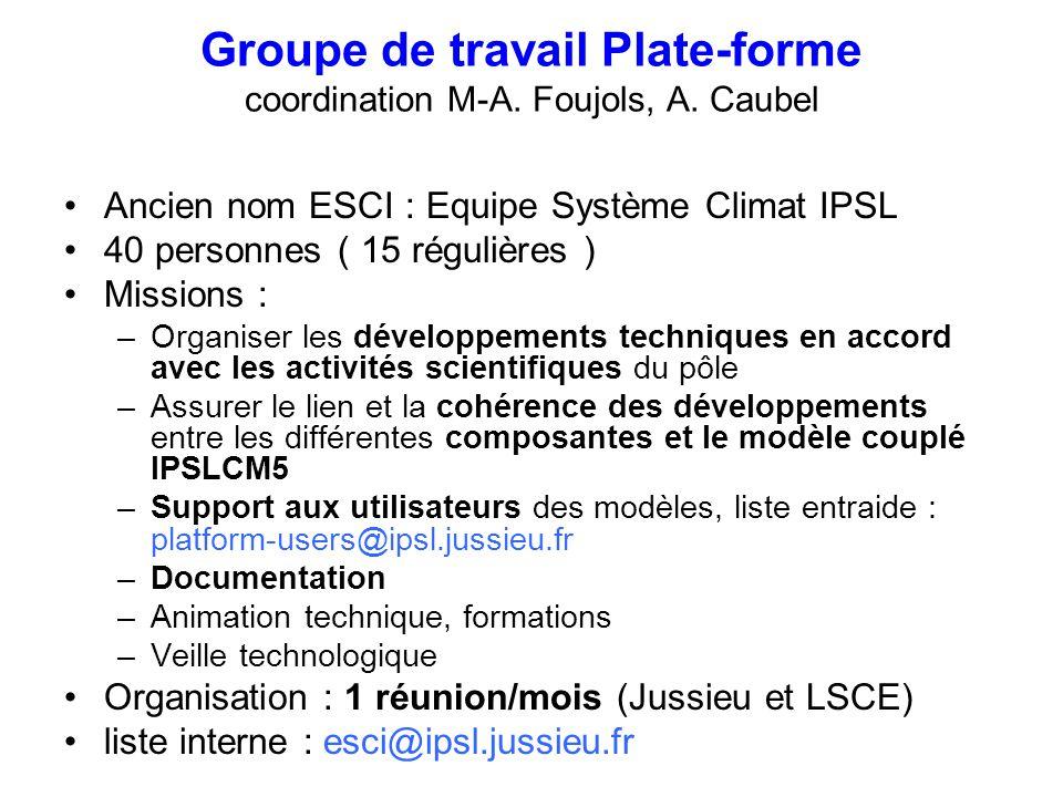 Groupe de travail Plate-forme coordination M-A. Foujols, A. Caubel Ancien nom ESCI : Equipe Système Climat IPSL 40 personnes ( 15 régulières ) Mission