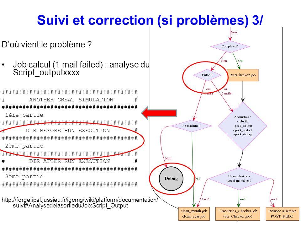 Suivi et correction (si problèmes) 3/ Doù vient le problème ? Job calcul (1 mail failed) : analyse du Script_outputxxxx ##############################