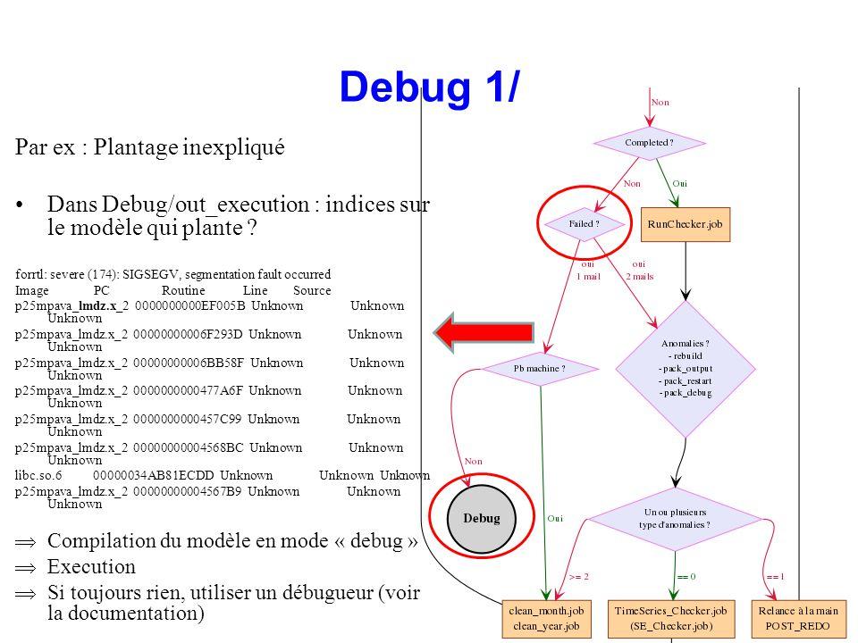 Debug 1/ Par ex : Plantage inexpliqué Dans Debug/out_execution : indices sur le modèle qui plante ? forrtl: severe (174): SIGSEGV, segmentation fault