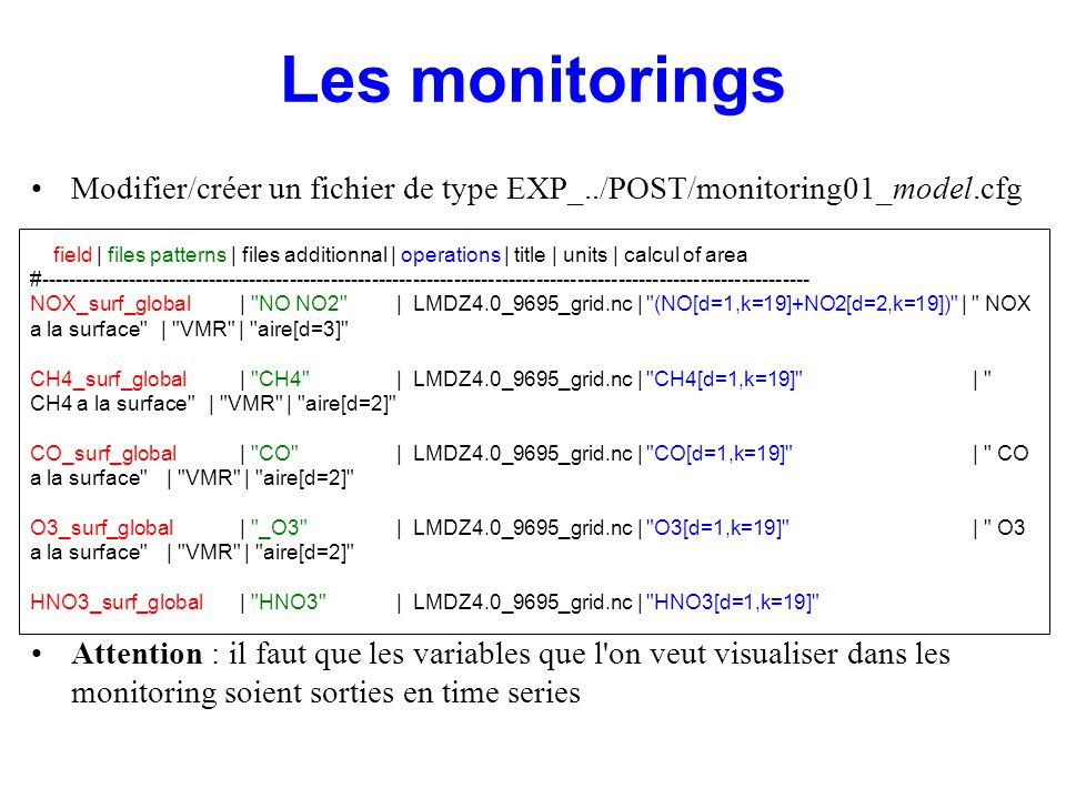 Modifier/créer un fichier de type EXP_../POST/monitoring01_model.cfg Attention : il faut que les variables que l on veut visualiser dans les monitoring soient sorties en time series #---------------------------------------------------------------------------------------------------------------- # field | files patterns | files additionnal | operations | title | units | calcul of area #----------------------------------------------------------------------------------------------------------------- NOX_surf_global| NO NO2 | LMDZ4.0_9695_grid.nc | (NO[d=1,k=19]+NO2[d=2,k=19]) | NOX a la surface | VMR | aire[d=3] CH4_surf_global| CH4 | LMDZ4.0_9695_grid.nc | CH4[d=1,k=19] | CH4 a la surface | VMR | aire[d=2] CO_surf_global| CO | LMDZ4.0_9695_grid.nc | CO[d=1,k=19] | CO a la surface | VMR | aire[d=2] O3_surf_global| _O3 | LMDZ4.0_9695_grid.nc | O3[d=1,k=19] | O3 a la surface | VMR | aire[d=2] HNO3_surf_global| HNO3 | LMDZ4.0_9695_grid.nc | HNO3[d=1,k=19] | HNO3 a la surface | ? | aire[d=2] Les monitorings