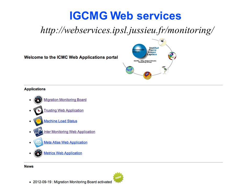 IGCMG Web services http://webservices.ipsl.jussieu.fr/monitoring/