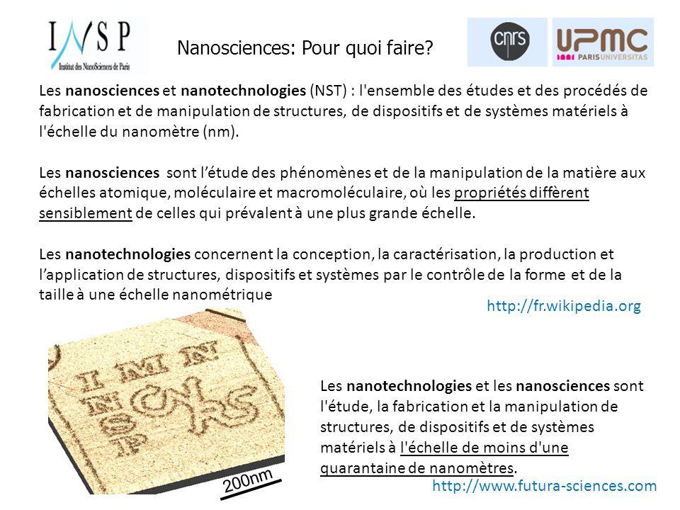 Les nanotechnologies et les nanosciences sont l étude, la fabrication et la manipulation de structures, de dispositifs et de systèmes matériels à l échelle de moins d une quarantaine de nanomètres.