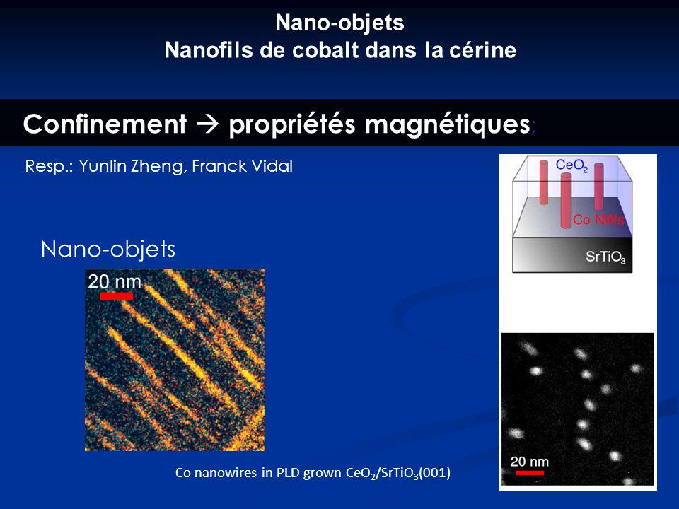 Confinement propriétés magnétiques ; Resp.: Yunlin Zheng, Franck Vidal Co nanowires in PLD grown CeO 2 /SrTiO 3 (001) Nano-objets Nano-objets Nanofils