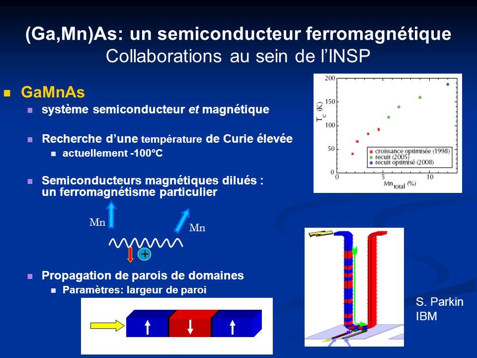 (Ga,Mn)As: un semiconducteur ferromagnétique Collaborations au sein de lINSP GaMnAs système semiconducteur et magnétique Recherche dune température de