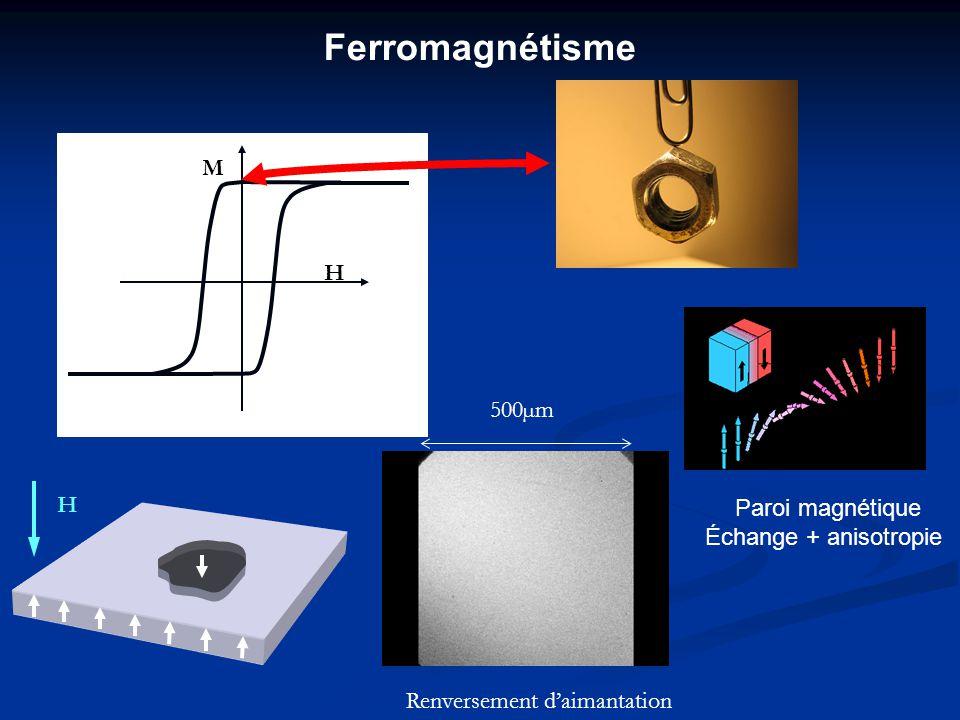 M H Paroi magnétique Échange + anisotropie Renversement daimantation 500µm H