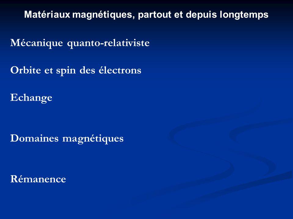 Mécanique quanto-relativiste Orbite et spin des électrons Echange Domaines magnétiques Rémanence Matériaux magnétiques, partout et depuis longtemps