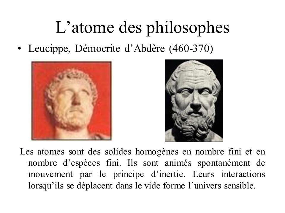 Latome des philosophes Leucippe, Démocrite dAbdère (460-370) Les atomes sont des solides homogènes en nombre fini et en nombre despèces fini. Ils sont