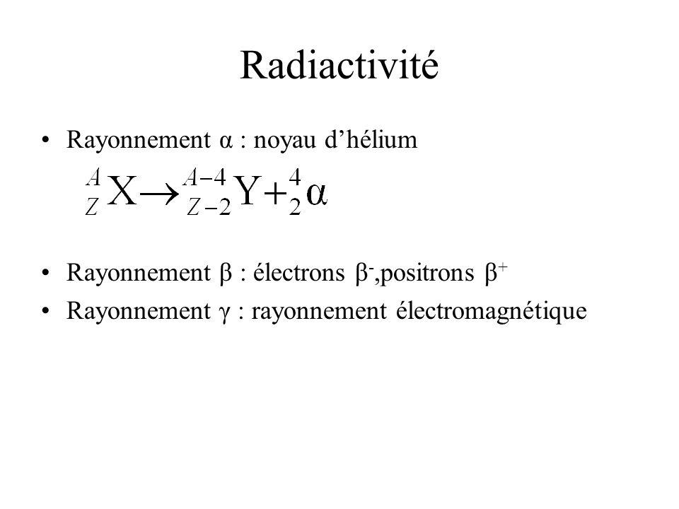 Radiactivité Rayonnement α : noyau dhélium Rayonnement β : électrons β -,positrons β + Rayonnement γ : rayonnement électromagnétique