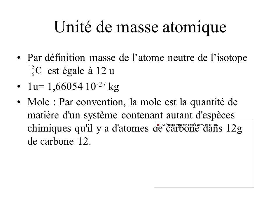 Unité de masse atomique Par définition masse de latome neutre de lisotope est égale à 12 u 1u= 1,66054 10 -27 kg Mole : Par convention, la mole est la