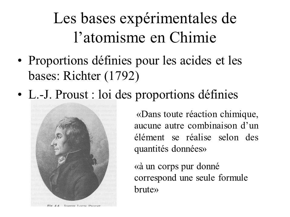 Les bases expérimentales de latomisme en Chimie Proportions définies pour les acides et les bases: Richter (1792) L.-J. Proust : loi des proportions d