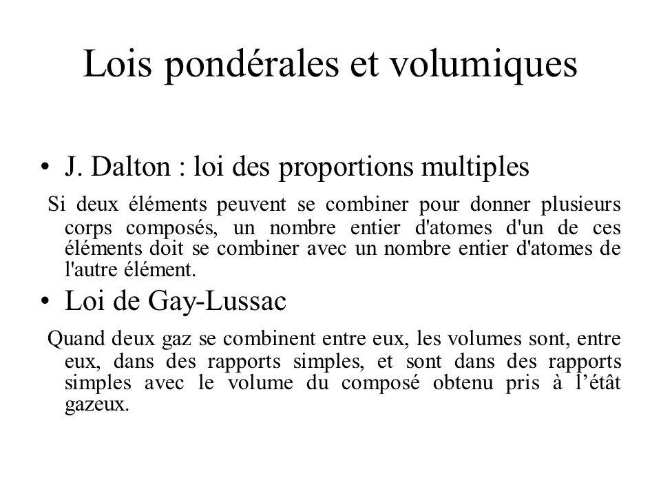 Lois pondérales et volumiques J. Dalton : loi des proportions multiples Si deux éléments peuvent se combiner pour donner plusieurs corps composés, un