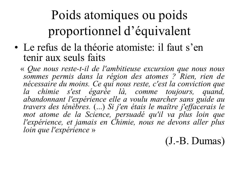 Poids atomiques ou poids proportionnel déquivalent Le refus de la théorie atomiste: il faut sen tenir aux seuls faits « Que nous reste-t-il de l'ambit