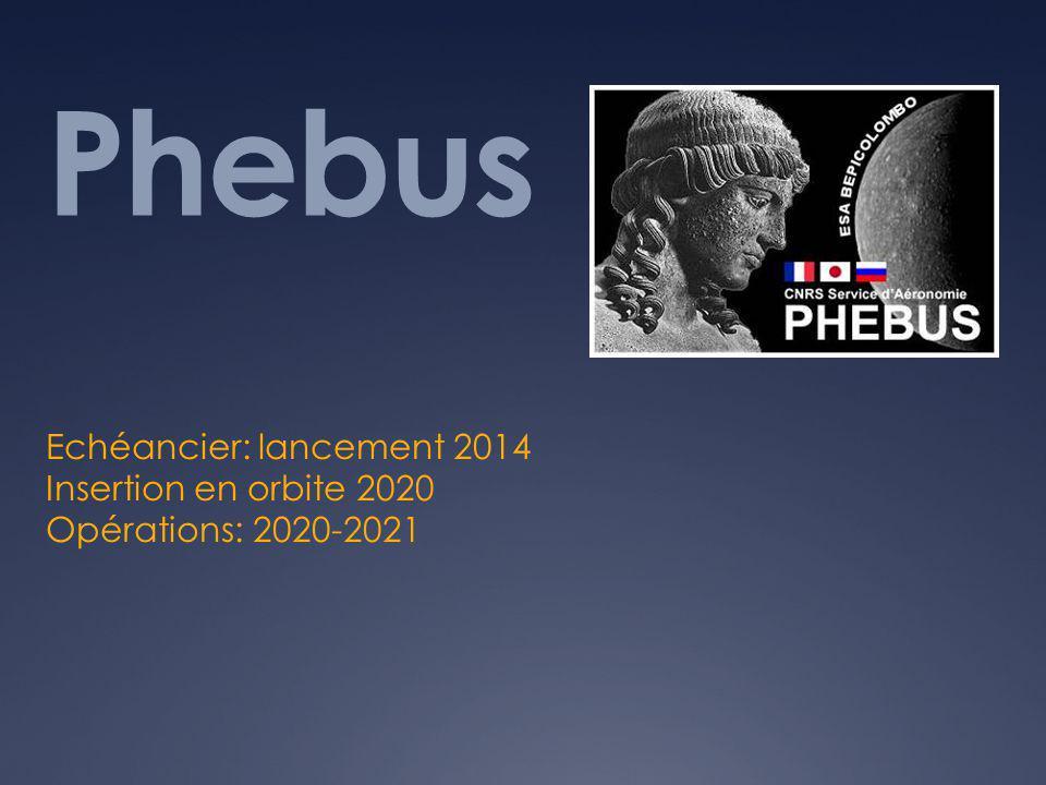 Phebus Echéancier: lancement 2014 Insertion en orbite 2020 Opérations: 2020-2021
