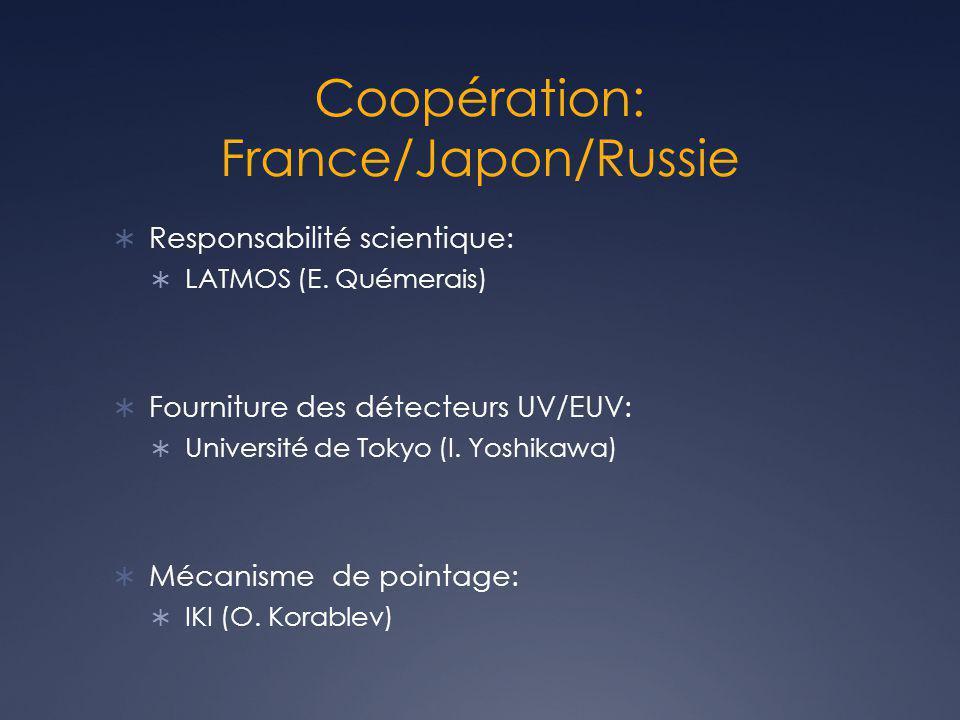 Coopération: France/Japon/Russie Responsabilité scientique: LATMOS (E. Quémerais) Fourniture des détecteurs UV/EUV: Université de Tokyo (I. Yoshikawa)
