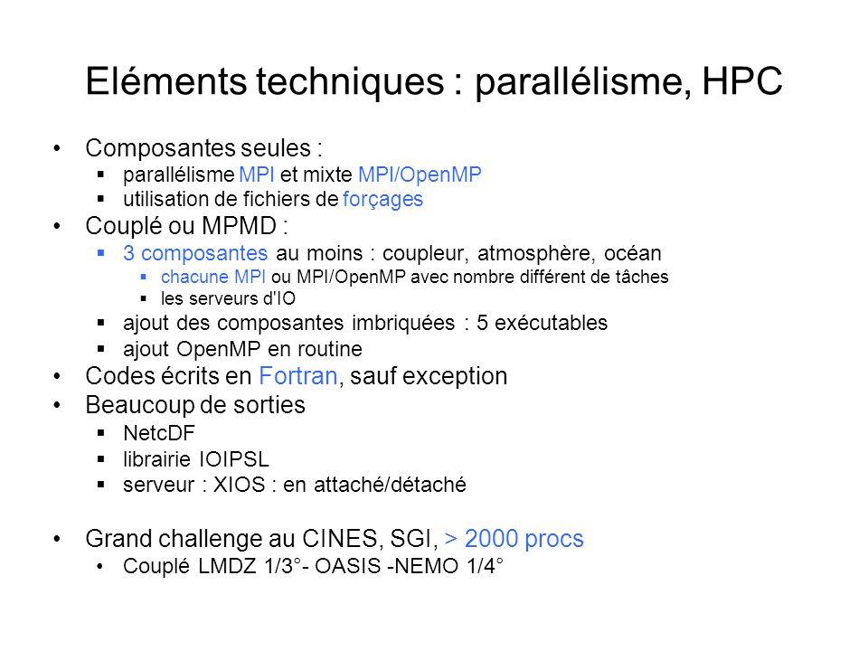 Eléments techniques : parallélisme, HPC Composantes seules : parallélisme MPI et mixte MPI/OpenMP utilisation de fichiers de forçages Couplé ou MPMD : 3 composantes au moins : coupleur, atmosphère, océan chacune MPI ou MPI/OpenMP avec nombre différent de tâches les serveurs d IO ajout des composantes imbriquées : 5 exécutables ajout OpenMP en routine Codes écrits en Fortran, sauf exception Beaucoup de sorties NetcDF librairie IOIPSL serveur : XIOS : en attaché/détaché Grand challenge au CINES, SGI, > 2000 procs Couplé LMDZ 1/3°- OASIS -NEMO 1/4°