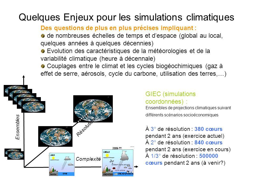 Quelques Enjeux pour les simulations climatiques Des questions de plus en plus précises impliquant : de nombreuses échelles de temps et despace (global au local, quelques années à quelques décennies) Evolution des caractéristiques de la météorologies et de la variabilité climatique (heure à décennale) Couplages entre le climat et les cycles biogéochimiques (gaz à effet de serre, aérosols, cycle du carbone, utilisation des terres,…) Ensembles Résolution Complexité GIEC (simulations coordonnées) : Ensembles de projections climatiques suivant différents scénarios socioéconomiques À 3° de résolution : 380 cœurs pendant 2 ans (exercice actuel) À 2° de résolution : 840 cœurs pendant 2 ans (exercice en cours) À 1/3° de résolution : 500000 cœurs pendant 2 ans (à venir )