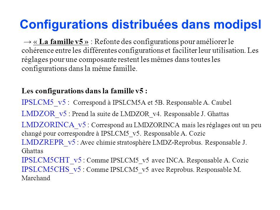 Configurations distribuées dans modipsl « La famille v5 » : Refonte des configurations pour améliorer le cohérence entre les différentes configurations et faciliter leur utilisation.