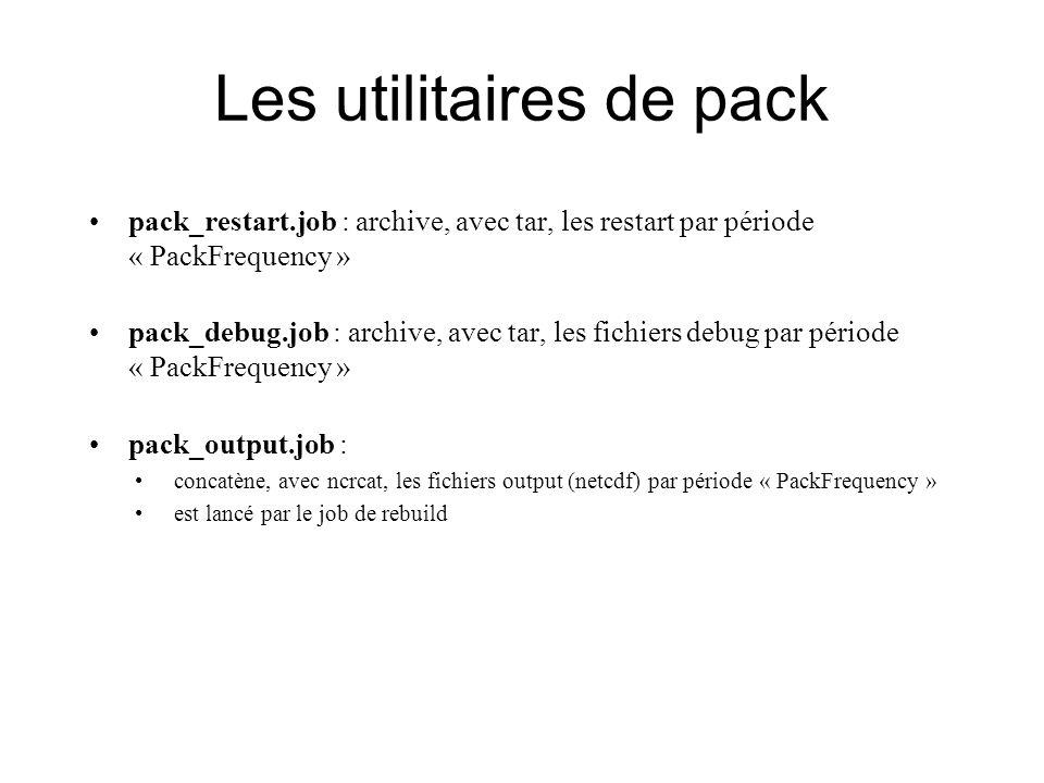 Les utilitaires de pack pack_restart.job : archive, avec tar, les restart par période « PackFrequency » pack_debug.job : archive, avec tar, les fichiers debug par période « PackFrequency » pack_output.job : concatène, avec ncrcat, les fichiers output (netcdf) par période « PackFrequency » est lancé par le job de rebuild
