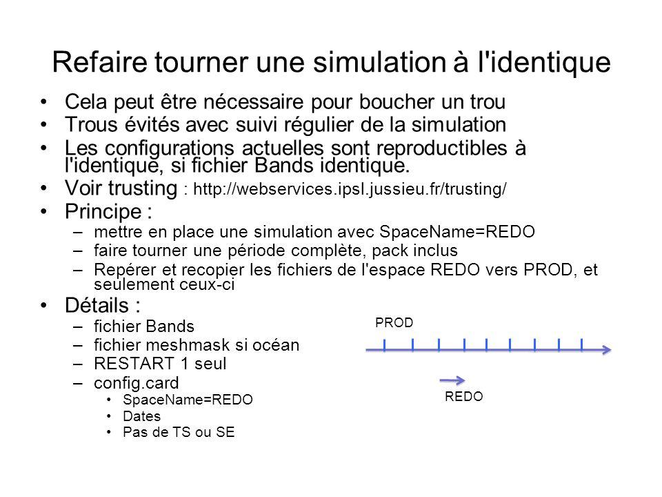 Cela peut être nécessaire pour boucher un trou Trous évités avec suivi régulier de la simulation Les configurations actuelles sont reproductibles à l identique, si fichier Bands identique.